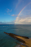 Waikiki Beach; Oahu; Hawaii; double; rainbow
