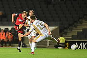 Grimsby Town striker Charles Vernam (18) takes a shot at goal during the EFL Sky Bet League 2 match between Milton Keynes Dons and Grimsby Town FC at stadium:mk, Milton Keynes, England on 21 August 2018.