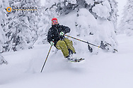 Pete Thomas skiing on a powder morning at Whitefish Mountain Resort, Montana, USA model released