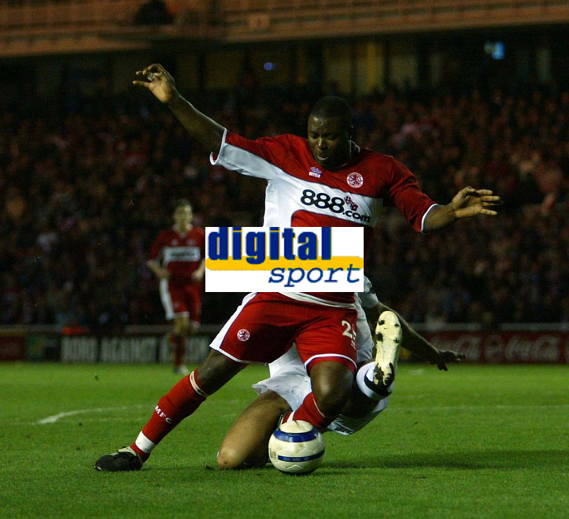 Photo: Jed Wee.<br /> Middlesbrough v FC Basle. UEFA Cup. Quarter-Final. 06/04/2006.<br /> <br /> Middlesbrough's Yakubu has a penalty claim after he is brought down by Basle's Daniel Majstorovic.