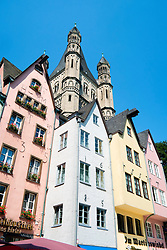 Historic colourful old buildings at Fischmarkt in the Old Town or Altstadt in Cologne Germany