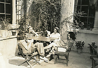 1943 Ladies lounge in the backyard of the Hollywood Studio Club