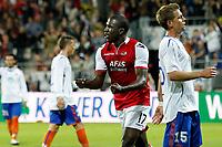 ALKMAAR - AZ - Aalesunds, voetbal,  seizoen 2011-2012, 25-08-2011, Europa League, AFAS Stadion, AZ speler Jozy Altidore (2vr) heeft de 2-0 gescoord, teleurstelling bij Aalesunds speler Daniel Arnefjord (r), juichen.