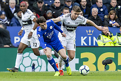 March 9, 2019 - Leicester, Leicestershire, United Kingdom - Tom Cairney of Fulham FC battling with Ben Chilwell of Leicester City during the Premier League match between Leicester City and Fulham at the King Power Stadium, Leicester on Saturday 9th March 2019. (Credit Image: © Mi News/NurPhoto via ZUMA Press)