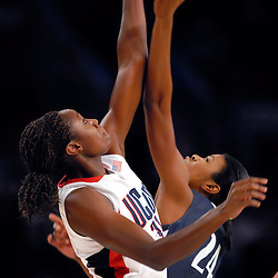 Dec 14, 2008; New York, NY, USA; UConn center Tina Charles (31) wins the tip-off from Penn State center Rashida Mark at the start of the second game of the Maggie Dixon Classic at Madison Square Garden.  The UConn Huskies defeated the Lady Lions 77-63.