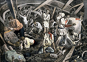 Coal miners trapped 24 days underground after roof fall. Survived by eating carrots and oats they found in the pit pony stables, Courrieres Mines, Pas de Calais, France. From 'Le Petit Journal' Paris 15 April 1906.