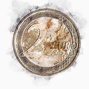 Digitally enhanced image of a Gold and silver Two Euro coin