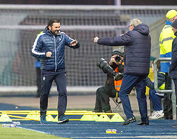 Falkirk's manager Paul Hartley after Louis Longridge (14) scored their third goal. Falkirk 6 v 1 Dundee United, Scottish Championship game played 6/1/2018 played at The Falkirk Stadium.
