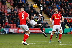 Kieran Agard of Bristol City has an acrobatic shot past George Ray of Crewe Alexandra - Photo mandatory by-line: Rogan Thomson/JMP - 07966 386802 - 20/12/2014 - SPORT - FOOTBALL - Crewe, England - Alexandra Stadium - Crewe Alexandra v Bristol City - Sky Bet League 1.