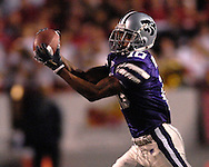 Kansas State wide receiver Jermaine Moreira makes a catch for a first down against Nebraska at Bill Snyder Family Stadium in Manhattan, Kansas, October 14, 2006.  The Huskers beat the Wildcats 21-3.<br />