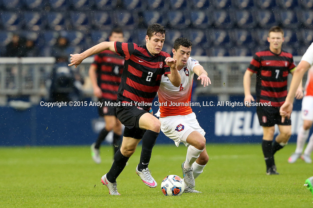 13 December 2015: Stanford's Foster Langsdorf (2) and Clemson's Oliver Shannon (ENG) (4). The Clemson University Tigers played the Stanford University Cardinal at Sporting Park in Kansas City, Kansas in the 2015 NCAA Division I Men's College Cup championship match. Stanford won the game 4-0.