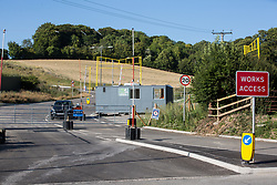 A sign indicates a security-manned access point to a site for the HS2 Great Missenden Haul Road on 17th July 2020 in Great Missenden, United Kingdom. The Department for Transport approved the issuing of Notices to Proceed by HS2 Ltd to the four Main Works Civils Contractors (MWCC) working on the £106bn high-speed rail link project in April 2020.