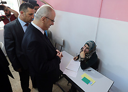 June 3, 2017 - Nablus, West Bank, Palestinian Territory - Palestinian Prime Minister Rami Hamdallah visits a school during the first day of high school exams, known as ''Tawjihi'' in the West Bank city of Nablus on June 03, 2017  (Credit Image: © Prime Minister Office/APA Images via ZUMA Wire)