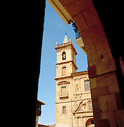 The bell tower of San Isidoro Church in Oviedo, Asturias, Spain