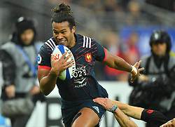 France 's Teddy Thomas during a rugby union international match at Stade de France stadium in Saint Denis, outside Paris, France, Saturday, Nov. 11, 2017Photo by Christian<br /> Liewig/ABACAPRESS.COM