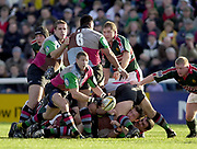 Twickenham, Surrey, England, UK., 25th January 2003, Zurich Premiership Rugby, Stoop Memorial Ground, England, Harlequins vs Leicester Tigers,<br /> [Mandatory Credit: Peter Spurrier/Intersport Images],<br /> Powergen Cup Quarter final Harlequins v Leicester<br /> Quins Scott Bemand move's the ball out from behind the scrum
