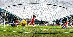 Aberdeen's Adam Rooney cele scoring their first goal.  <br /> St Johnstone 3 v 4Aberdeen, SPFL Ladbrokes Premiership played 6/2/2016 at McDiarmid Park, Perth.