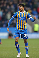 28 Josh Laurent for Shrewsbury Town during the The FA Cup 3rd round match between Shrewsbury Town and Stoke City at Greenhous Meadow, Shrewsbury, England on 5 January 2019.
