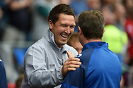 Cardiff city caretaker manager Scott Young laughs ahead of k/o. Skybet football league championship match, Cardiff city v Sheffield Wed at the Cardiff city stadium in Cardiff, South Wales on Saturday 27th Sept 2014<br /> pic by Andrew Orchard, Andrew Orchard sports photography.