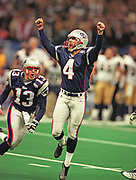 Feb 3, 2002; New Orleans, Louisiana, USA; New England Patriots kicker Adam Vinatieri celebrates his game winning field goal as time expires against the St. Louis Rams during Super Bowl XXXVI at the Louisiana Superdome.