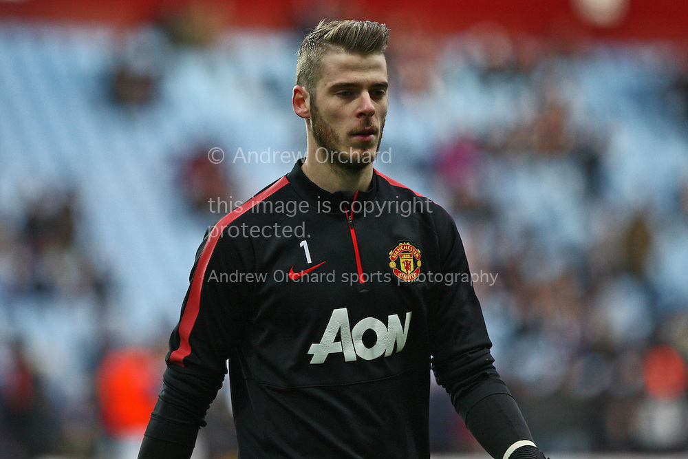 David De Gea of Manchester United leaves the field after pre-match warm up. Barclays Premier league match, Aston Villa v Manchester Utd at Villa Park in Birmingham on Saturday 20th December 2014<br /> pic by Mark Hawkins, Andrew Orchard sports photography.