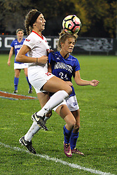 04 November 2016: Brooke Ksiazek(15) & Maddie Schaak(24)  during an NCAA Missouri Valley Conference (MVC) Championship series women's semi-final soccer game between the Indiana State Sycamores and the Illinois State Redbirds on Adelaide Street Field in Normal IL