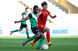 September 23, 2017 - Brugge, BELGIUM - Cercle's Johanna Omolo and Tubize's Wook Ki Hwang fight for the ball during a soccer game between Cercle Brugge KSV and AFC Tubize, Saturday 23 September 2017, on day seven of the division 1B Proximus League competition of the Belgian championship. BELGA PHOTO VIRGINIE LEFOUR (Credit Image: © Virginie Lefour/Belga via ZUMA Press)
