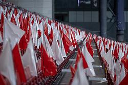Tribune uden tilskuere under UEFA Nations League kampen mellem Danmark og England den 8. september 2020 i Parken, København (Foto: Claus Birch).
