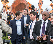 © Licensed to London News Pictures. 13/04/2015. Carshalton, UK.  NICK CLEGG is led away by his police officers. Leader of the Liberal Democrats and Deputy Prime Minister Nick Clegg visits Carshalton and Wallington constituency on Monday (13th April) with Lib Dem candidate Tom Brake.  Photo credit : Stephen Simpson/LNP