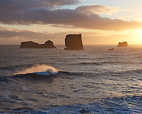 Sunset at the south coast of Iceland.
