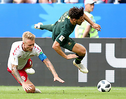 SAMARA, June 21, 2018  Mathew Leckie (R) of Australia vies with Simon Kjaer of Denmark during the 2018 FIFA World Cup Group C match between Denmark and Australia in Samara, Russia, June 21, 2018. The match ended in a 1-1 draw. (Credit Image: © Ye Pingfan/Xinhua via ZUMA Wire)
