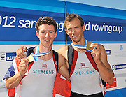 Munich, GERMANY,   GBR LM2- Gold Medalist Bow Paul MATTICK and Adam FREEMAN-PASK.   2012 A World Cup III on the Munich Olympic Rowing Course,  Saturday   16/06/2012. [Mandatory Credit Peter Spurrier/ Intersport Images]