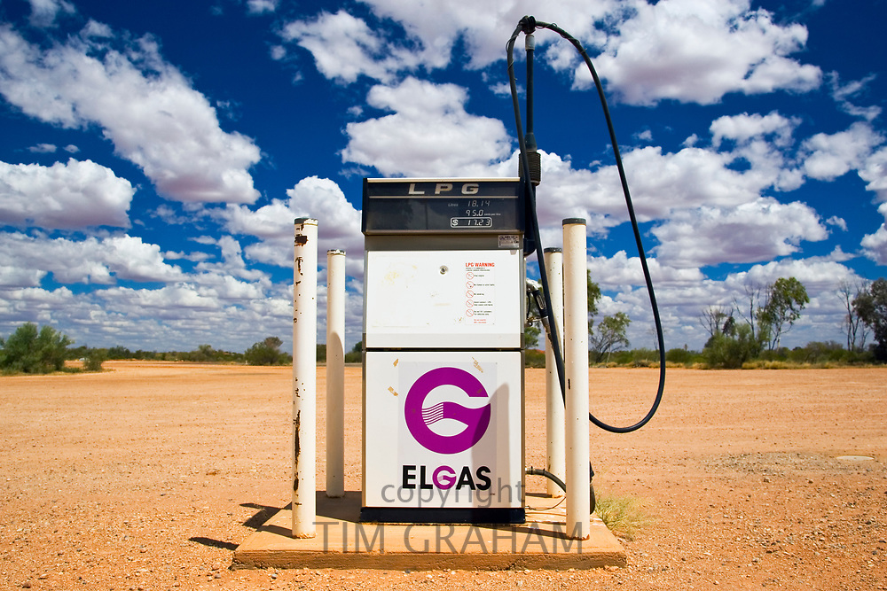 Solitary petrol pump in the Red Centre, Central Australia RESERVED USE <br /> FINE ART PHOTOGRAPHY by Tim Graham