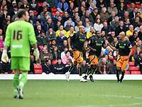 Goalkeeper Richard Lee (Watford) looks on as Chris Iwelumo  (Wolverhampton Wanderers) celebrates with team mates<br /> Watford vs Wolverhampton Wanderers at Vicarage Road Watford. Coca Cola Championship. 25/10/2008.<br /> Credit Colorsport / Shaun Boggust