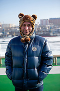 """Portrait of a Russian passenger on the """"Eastern Dream"""" ferry during arrival to the sea port of Vladivostok in Russia. Vladivostok, Russian Federation, Russia, RUS, 12.01.2010."""