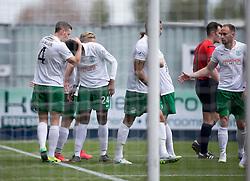 Hibernian's Dominique Malonga celebrates after scoring their third goal. <br /> Falkirk 0 v 3 Hibernian, Scottish Championship game played at The Falkirk Stadium 2/5/2015.