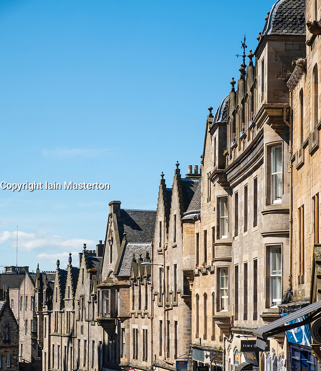 Row of old tenement buildings on Cockburn Street in Old Town of Edinburgh, Scotland, UK