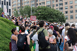 "July 26, 2018 - New York City, New York, US - A coalition of immigration advocates rallied on the steps of the Department of Homeland Security (DHS) in lower Manhattan on 26th. July, 2018, in support of migrants for a ""Deportee Suitcase Action"" rally. Organizers – The New Sanctuary Coalition – issued a statement asking, ""… to think about one person — someone you love — and imagine packing a suitcase for that person before they are deported to a country where you might never see them again. (Credit Image: © G. Ronald Lopez via ZUMA Wire)"