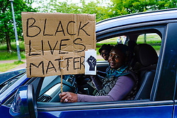 Edinburgh, Scotland, UK. 7 June 2020.  Black Lives Matter protest demonstration at Holyrood Park in Edinburgh. Drivers showed support in a convoy of private cars. Iain Masterton/Alamy Live News
