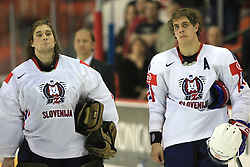 Goalkeeper Robert Kristan and Anze Kopitar of Slovenia at ice-hockey match USA vs Slovenia at Preliminary Round (group B) of IIHF WC 2008 in Halifax, on May 04, 2008 in Metro Center, Halifax, Nova Scotia, Canada. (Photo by Vid Ponikvar / Sportal Images)