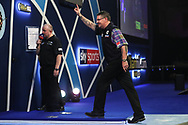 Gary Anderson wins his fourth round match against Chris Dobey and celebrates during the World Darts Championships 2018 at Alexandra Palace, London, United Kingdom on 27 December 2018.