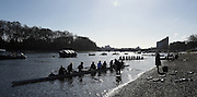 """Putney. London,  Great Britain.<br /> """"Messing about on the River"""" OUWBC, boating for a training outing.<br /> 2016 Tideway Week, Putney. Putney Embankment, Championship Course. River Thames.<br /> <br /> Friday  25/03/2016 <br /> <br /> [Mandatory Credit; Peter SPURRIER/Intersport-images]"""