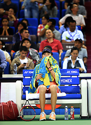 ZHUHAI, Nov. 5, 2016  Zhang Shuai of China reacts during a break of the women's singles semifinal against Petra Kvitova of the Czech Republic at the WTA Elite Trophy tournament in Zhuhai, south China's Guangdong Province,on Nov. 5, 2016. Zhang Shuai lost 0-2. (Credit Image: © Lu Hanxin/Xinhua via ZUMA Wire)