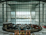 View inside the main mall of the Etihad towers with restaurant and inner pool.