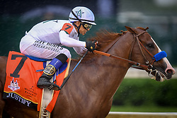 May 5, 2018 - Louisville, Kentucky, U.S. - Jockey MIKE SMITH, riding Justify, leads the field around the fourth turn at Churchill Downs during the 144th Kentucky Derby in Louisville, Kentucky, Friday, May 5, 2018 (Credit Image: © Bryan Woolston via ZUMA Wire)