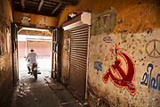 The Communist Hammer and Sickle wall painting on 28th February 2018 in Kochi, Kerala, India. Today the largest political party in Kerala politics is the Communist Party of India Marxist.