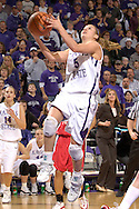 Kansas State guard Shalee Lehning drives in for a brake away score against Fresno State, during the second half at Bramlage Coliseum in Manhattan, Kansas, March 22, 2006.  K-State defeated the Bulldogs 64-61 in the second round of the WNIT.