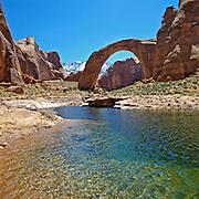Rainbow Bridge, a natural stone arch, near Lake Powell, Glen Canyon National Recreation Area, Utah and Arizona
