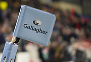 General view of the corner flag during a Gallagher Premiership Rugby Union match Sale Sharks -V- Leicester Tigers, won by Sale 36-3 Friday, Feb. 21, 2020, in Eccles, United Kingdom. (Steve Flynn/Image of Sport via AP)