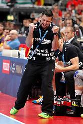 31.05.2014, Lanxess Arena, Koeln, GER, EHF CL, FC Barcelona vs SG Flensburg Handewitt, Halbfinale, im Bild Trainer Ljubomir Vranjes (SG Flensburg Handewitt) // during the EHF Champions League semifinal match between FC Barcelona and SG Flensburg Handewitt at the Lanxess Arena in Koeln, Germany on 2014/05/31. EXPA Pictures © 2014, PhotoCredit: EXPA/ Eibner-Pressefoto/ Schueler<br /> <br /> *****ATTENTION - OUT of GER*****